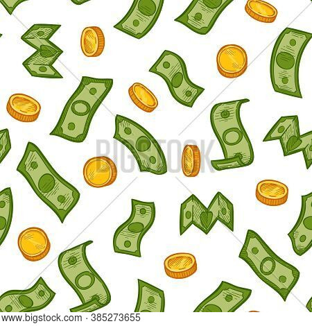 Money Rain Pattern. Green Dollar Banknotes And Gold Coins Falling Down. Financial Crisis, Recession