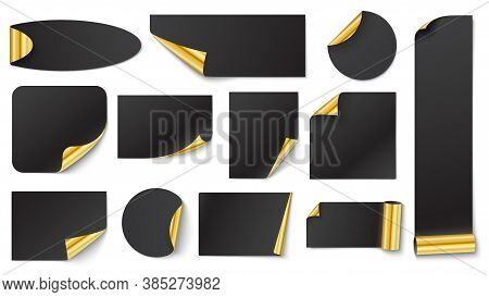Black Stickers With Gold. Sticker Gold Corner On White, Vector Blank Black Illustration With Corner