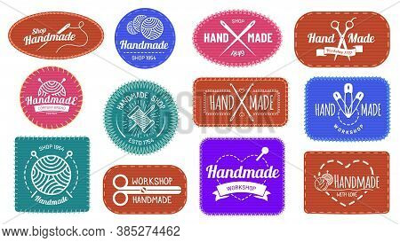 Handmade Badges Logo, Graphic Logotype Tag Label, Quality Handmade Company, Craft Tailor And Sewing,