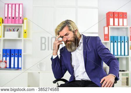 Stressful Life. Business Man Suffer Headache. Businessman Feel Pain Headache. Experience Frequent He