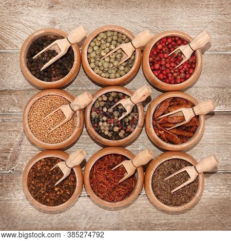 Various fancy spices condiments for creative cooking