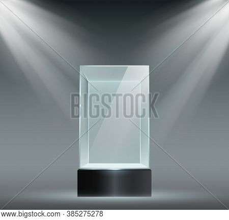 Glass Showcase. Transparent Plastic Cube, Empty Product Or Museum Display In Block Shape With Spotli