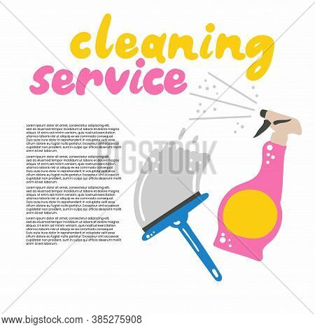Cleaning Service. Spray And Brush For Cleaning Windows, Household Chemicals. Poster Banner Template
