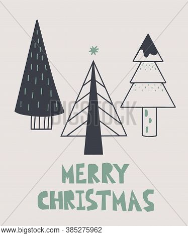 Merry Christmas Postcard. New Year Card With Xmas Trees And Lettering, Winter Festive Gift Cards, No