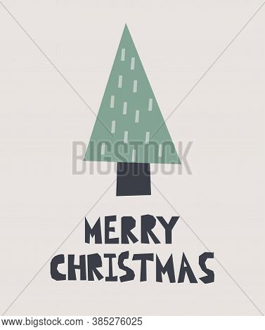 Merry Christmas Postcard. New Year Card With Xmas Tree And Lettering, Winter Festive Gift Cards, Noe