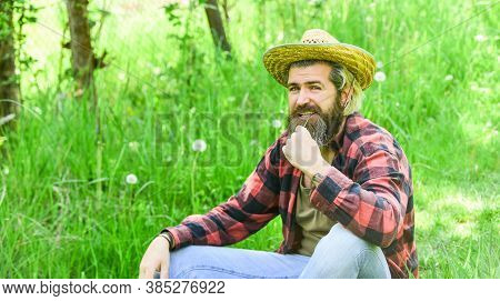 Attractive Farmer. Farmer Relax. Eco Environment. Ecology Concept. Summer Vacation. Rest In Countrys
