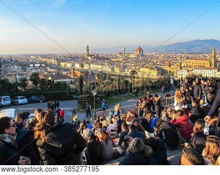 Florence, Italy-january 1,2016.people Admire View Of Florence,firenze, From Piazzale Michelangelo.to