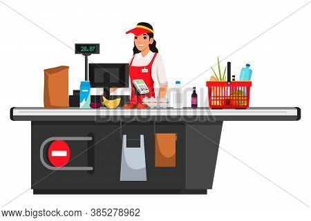 Cashier At Supermarket Isolated Person. Smiling Woman Employee In Uniform Standing At Cash Desk. Sto