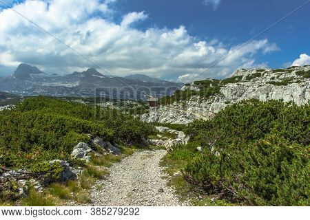 Scenic Summer Landscape Of The Austrian Alps.hiking Active Day In The Mountains.travel Destination C