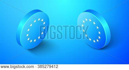 Isometric Flag Of European Union Icon Isolated On Blue Background. Eu Circle Symbol. Waving Eu Flag.