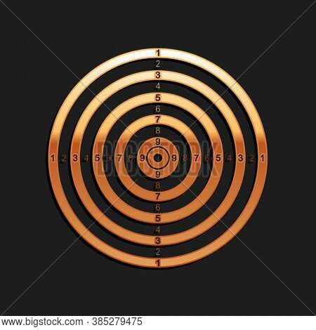 Gold Target Sport For Shooting Competition Icon Isolated On Black Background. Clean Target With Numb