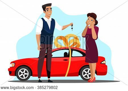 Surprise Gives Gift Scene. Man Gives Present Car Keys To Girl. Auto With Ribbon And Bows. Surprised