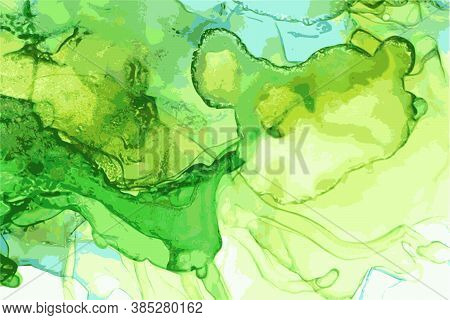 Emerald, Green And Yellow Marble Abstract Background. Alcohol Ink Oriental Technique
