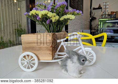 The Dining Table Decorations Include Rabbit Doll, Flower Pots And Simulation Tricycles.