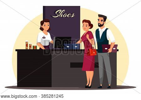 Shoe Store Scene. Man And Woman Chose New Shoes. Couple Holds Boxes, Stands At Checkout Counter, Pay