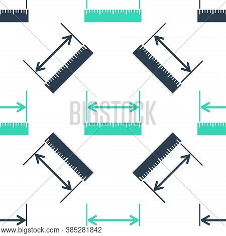 Green The Measuring Height And Length Icon Isolated Seamless Pattern On White Background. Ruler, Str