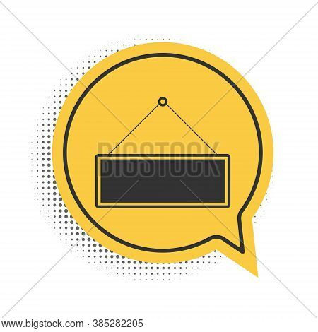 Black Signboard Hanging Icon Isolated On White Background. Suitable For Advertisements Bar, Cafe, Pu