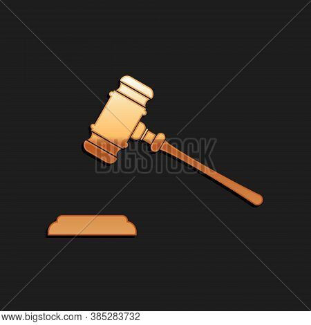 Gold Judge Gavel Icon Isolated On Black Background. Gavel For Adjudication Of Sentences And Bills, C