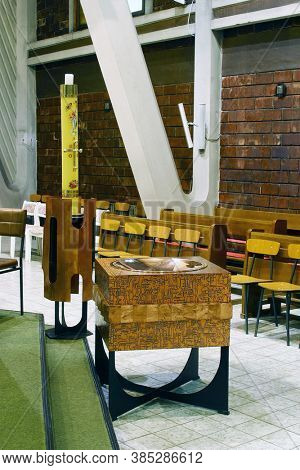 ZAGREB, CROATIA - JULY 27, 2012: Baptistery in the Parish Church of Mary Queen of the Holy Rosary in Zagreb, Croatia