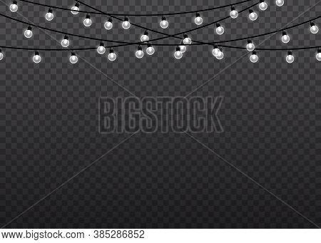 White Glow Light Lamp On Wire Strings Isolated Transparent Background. Garlands Decorations. Christm