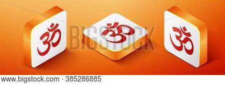 Isometric Om Or Aum Indian Sacred Sound Icon Isolated On Orange Background. The Symbol Of The Divine