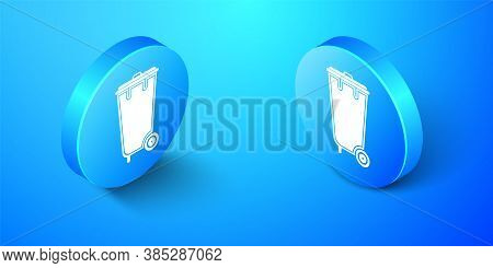 Isometric Trash Can Icon Isolated On Blue Background. Garbage Bin Sign. Recycle Basket Icon. Office