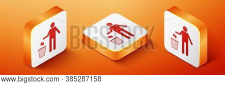 Isometric Man Throwing Trash Into Dust Bin Icon Isolated On Orange Background. Recycle Symbol. Trash