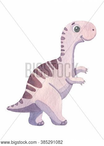 Cute Cartoon Purple Dinosaur Painted In Watercolor Isolated On White Background. Fantastic Prehistor