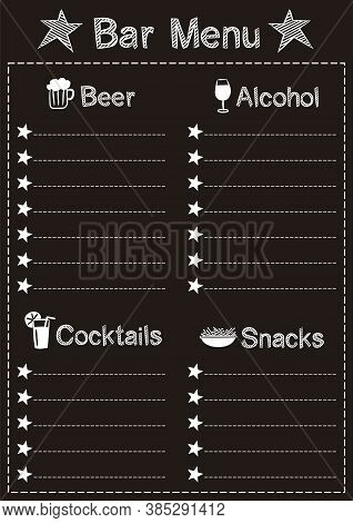 Menu Template For The Bar In Chalk Style On A Black Chalkboard. Chalk Font And Icons For Beer, Alcoh