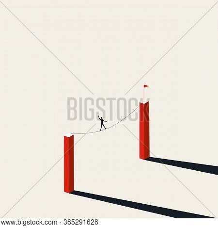 Buisnessman Walking Tightrope Vector Concept. Symbol Of Business Risk, Courage, Overcome Challenges.