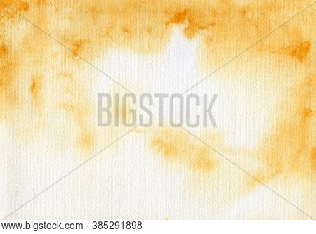 Abstract Background, Orange Watercolor On Paper Texture
