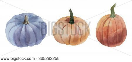 Watercolor Vector Orange And Blue Pumpkins Set On White Background. Halloween And Autumn Theme.