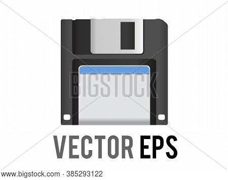 The Isolated Vector Black 3.5 Inch Floppy Disk Or Save Icon With Silver Shutter Positioned Up And Wh