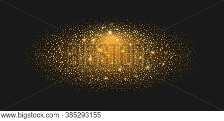 Golden Glitter Background With Glowing Sparks, Luminous Particles And Shiny Light Flash Effect, Luxu