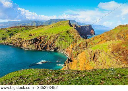 Ponta De Sao Lourenco, Madeira,portugal. Beautiful Scenic Mountain View Of Green Landscape,cliffs An