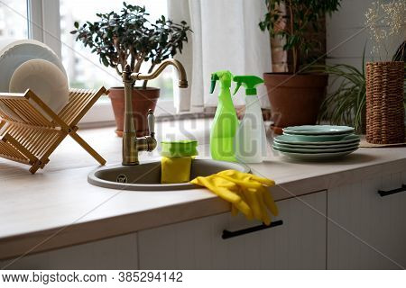 Cleaning Service, House Cleaning. Hygiene And Cleanliness In The Kitchen. A Set For General Cleaning