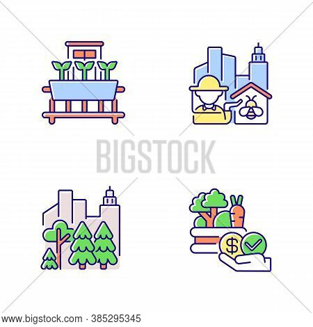 Urban Agriculture Production Rgb Color Icons Set. City Forest. Public Park. Affordable Food. Vegetab