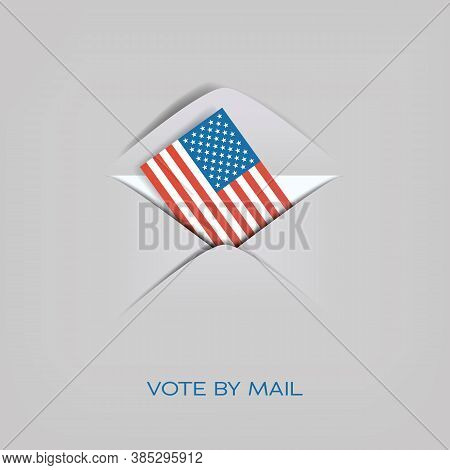 Vote By Mail In Us Presidential Election Vector Concept. American Flag In Envelope. Cast Ballot, Dis