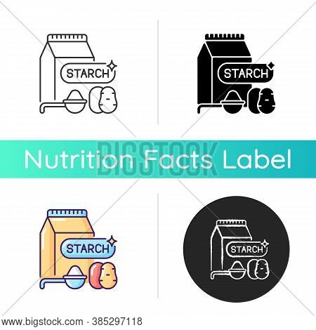 Starch Icon. Nutrient Products. Lunch Preparation. Ingredient For Baking. Potato Powder. Grocery Foo