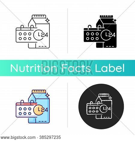 Product Dates Icon. Expiration Deadline For Milk. Grocery Food. Foodstuff To Purchase. Healthy Eatin