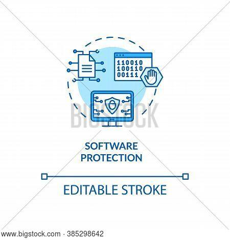Software Protection Concept Icon. Content, Data Defence Device Idea Thin Line Illustration. Antiviru