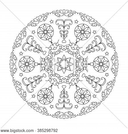 Christmas Mandala. Coloring Page. Christmas Ball And Fir Tree. Black And White. Vector Illustration.