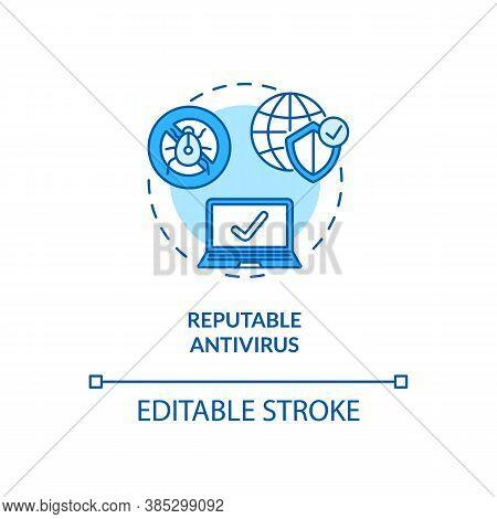 Reputable Antivirus Concept Icon. Virus Protection. Identity Safeguard. Trustworthy Antivirus Softwa