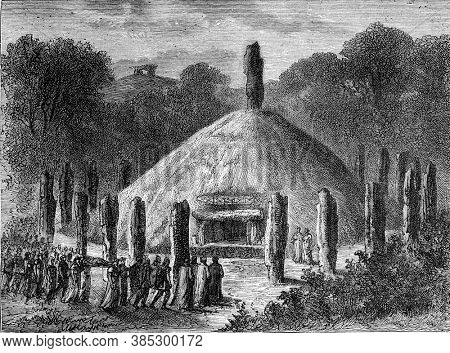 Gallic funeral. Vintage engraving. From Popular France, 1869.