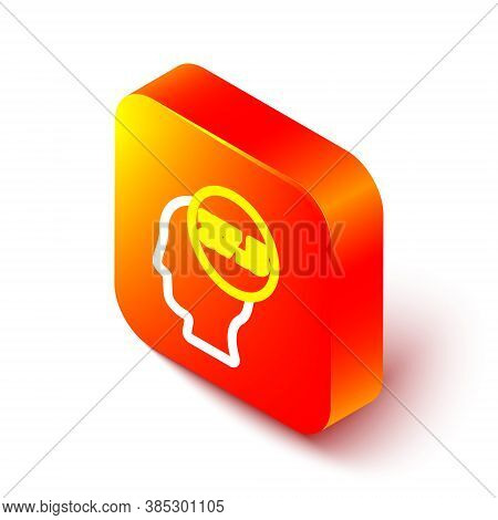 Isometric Line High Human Body Temperature Or Get Fever Icon Isolated On White Background. Disease,
