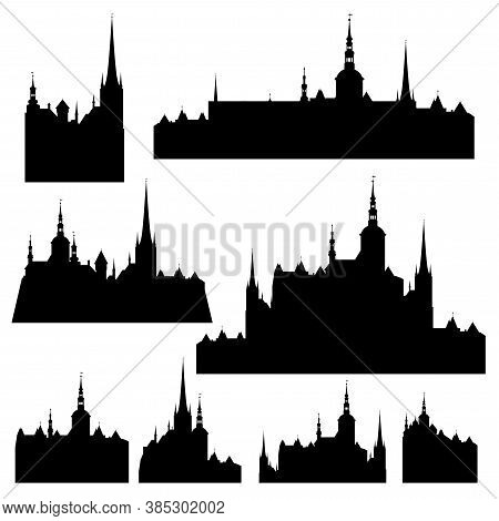 Fairy Tale European Castle With Towers And Detailed Skyline - Medieval Fantasy Architecture Black An