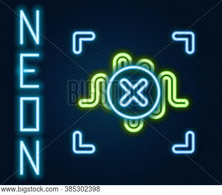 Glowing Neon Line Rejection Voice Recognition Icon Isolated On Black Background. Voice Biometric Acc
