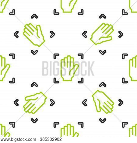 Line Palm Print Recognition Icon Isolated Seamless Pattern On White Background. Biometric Hand Scan.