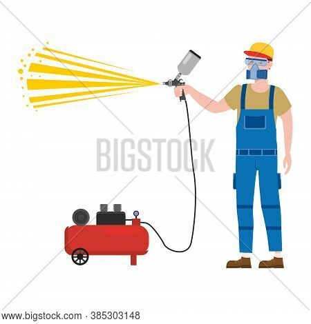 Construction Spray Painter Worker With Spray Gun Airbrush Tool In Workwear. Craftsman Character Vect