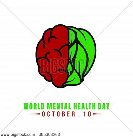 World Mental Health Day With Red Brain And Green Leaf Vector Illustration. Perfect Template For Worl